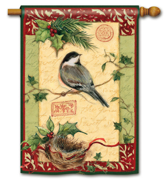 Holiday Chickadee Standard Flag