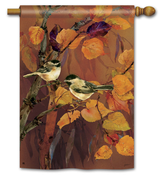 Autumn Chickadees Standard Flag