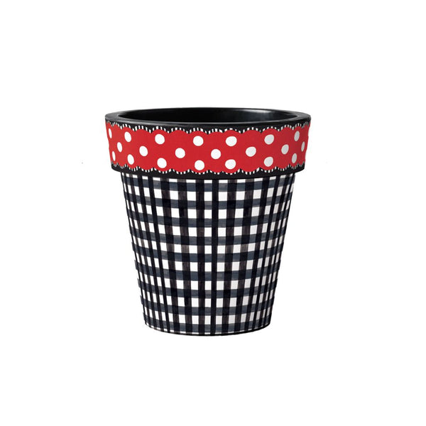 Black Gingham with Red Dots 12