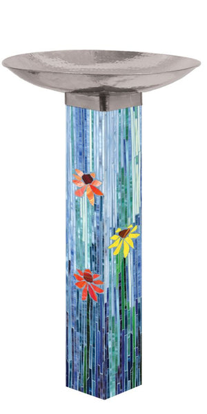 Mosaic Watercolor Bird Bath Art Pole w/ST9025 Stainless Topper