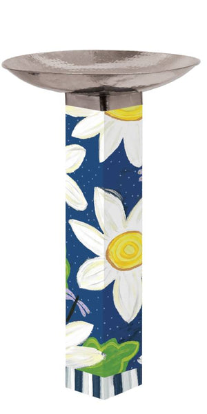 10/15 Daisy Blues Bird Bath Art Pole w/ST9025 Stainless Topper
