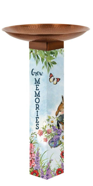 10/15 Sweet Home Bird Bath Art Pole w/ST9021 Copper Topper