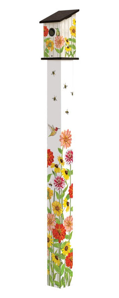 Birds and Bees 6' Birdhouse Art Pole