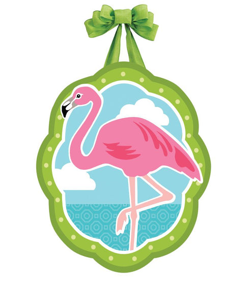 Coastal Flamingo Door Décor