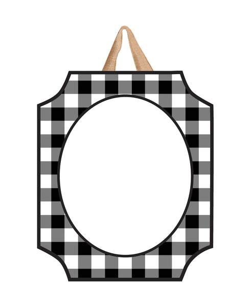 Black And White Check Blank Door Décor