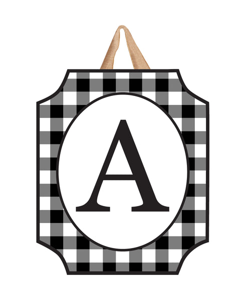 Black & White Check Monogram A Door Décor