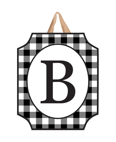 Black & White Check Monogram B Door Décor