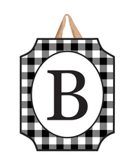 Black And White Check Monogram B Door Décor