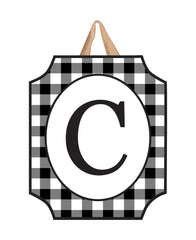 Black & White Check Monogram C Door Décor