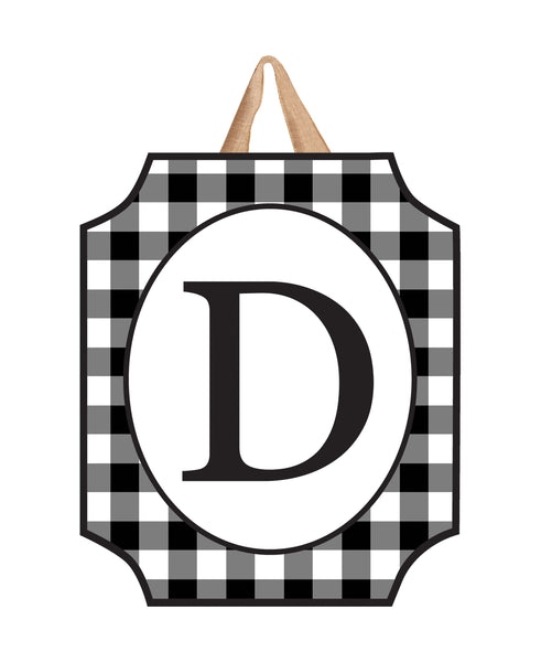 Black And White Check Monogram D Door Décor