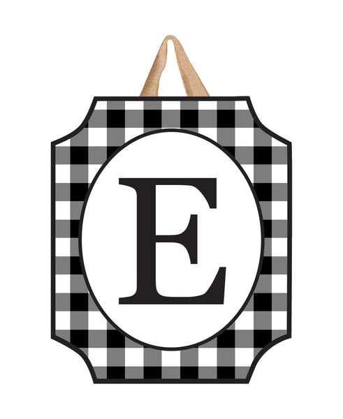 Black And White Check Monogram E Door Décor