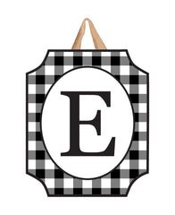 Black & White Check Monogram E Door Décor
