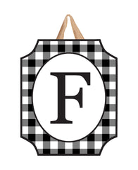 Black And White Check Monogram F Door Décor