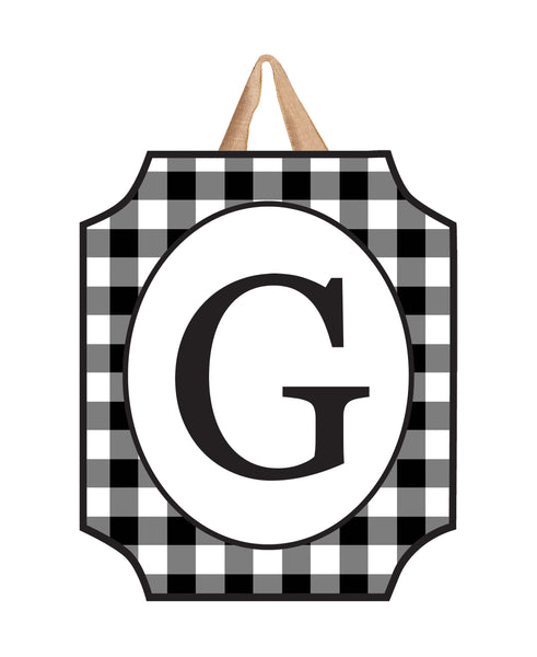 Black & White Check Monogram G Door Décor