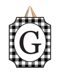 Black And White Check Monogram G Door Décor