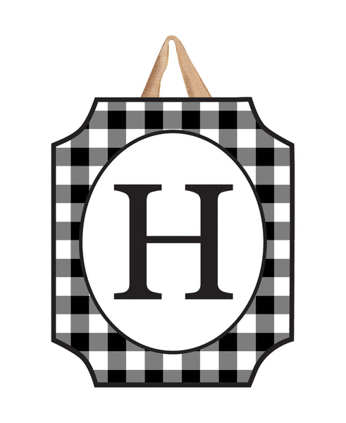 Black & White Check Monogram H Door Décor