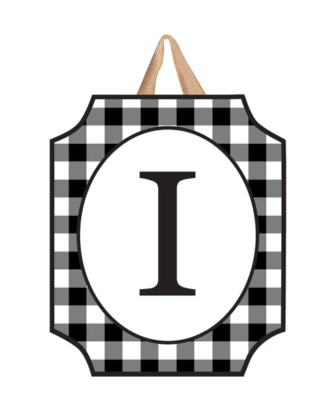 Black & White Check Monogram I Door Décor