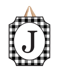 Black & White Check Monogram J Door Décor