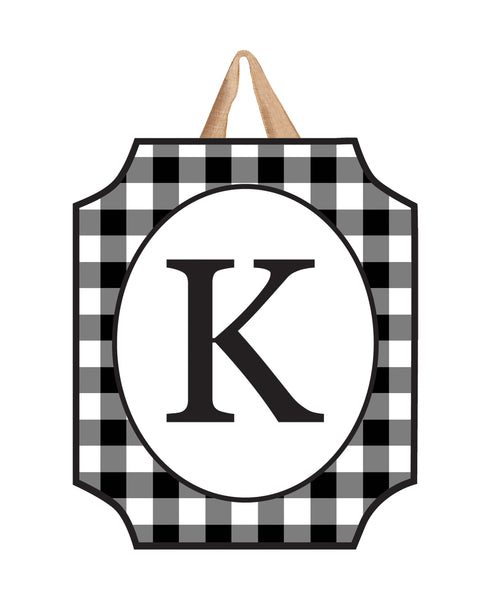 Black & White Check Monogram K Door Décor
