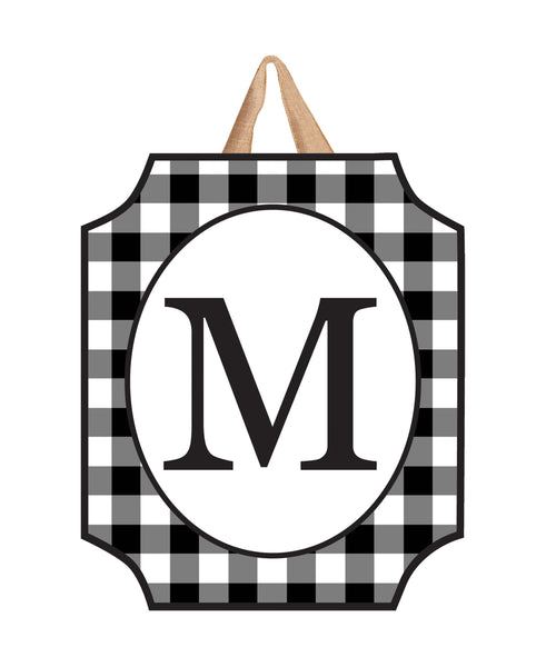 Black & White Check Monogram M Door Décor