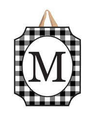 Black And White Check Monogram M Door Décor