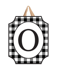 Black And White Check Monogram O Door Décor