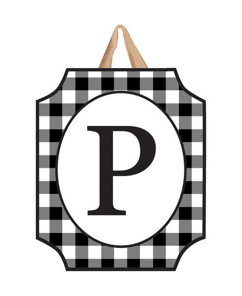Black & White Check Monogram P Door Décor