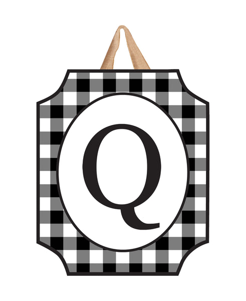 Black & White Check Monogram Q Door Décor