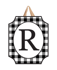 Black And White Check Monogram R Door Décor