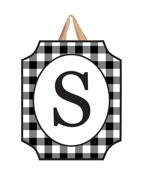Black & White Check Monogram S Door Décor