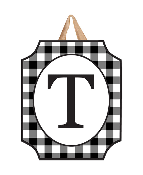 Black & White Check Monogram T Door Décor