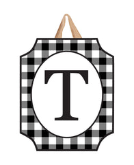 Black And White Check Monogram T Door Décor