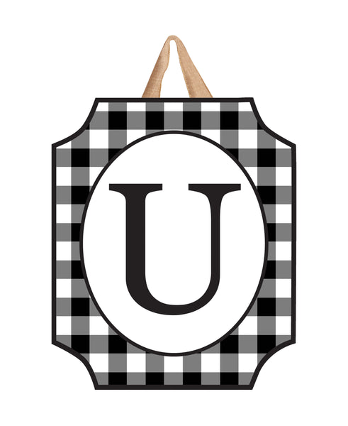 Black & White Check Monogram U Door Décor