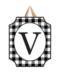 Black And White Check Monogram V Door Décor