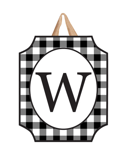Black & White Check Monogram W Door Décor