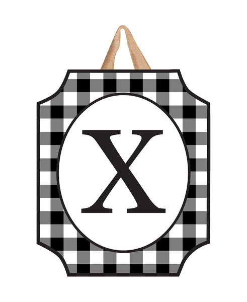 Black & White Check Monogram X Door Décor