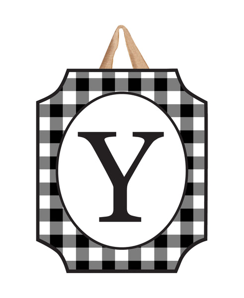 Black & White Check Monogram Y Door Décor