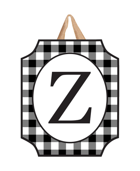 Black & White Check Monogram Z Door Décor