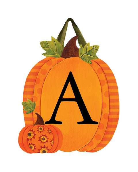 Patterned Pumpkins Monogram A Door Décor