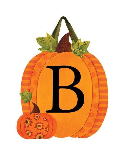 Patterned Pumpkins Monogram B Door Décor