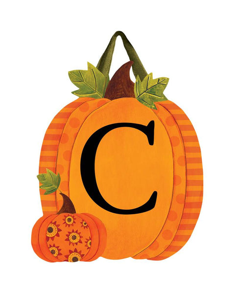Patterned Pumpkins Monogram C Door Décor