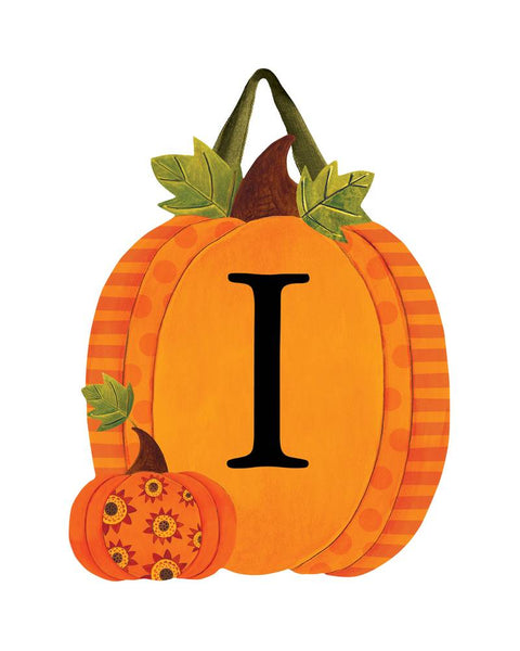 Patterned Pumpkins Monogram I Door Décor