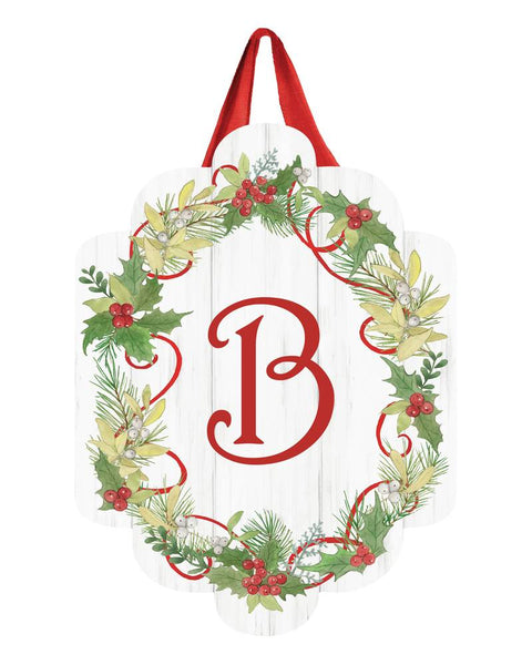 Winterberry Monogram B Door Décor