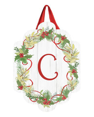 Winterberry Monogram C Door Décor