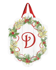 Winterberry Monogram D Door Décor
