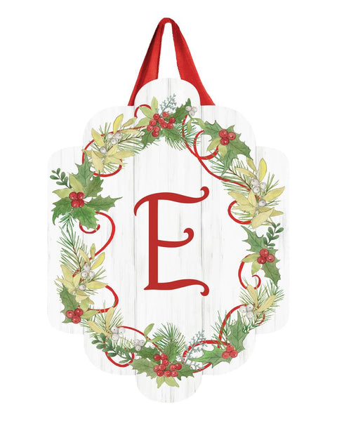 Winterberry Monogram E Door Décor