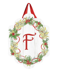 Winterberry Monogram F Door Décor