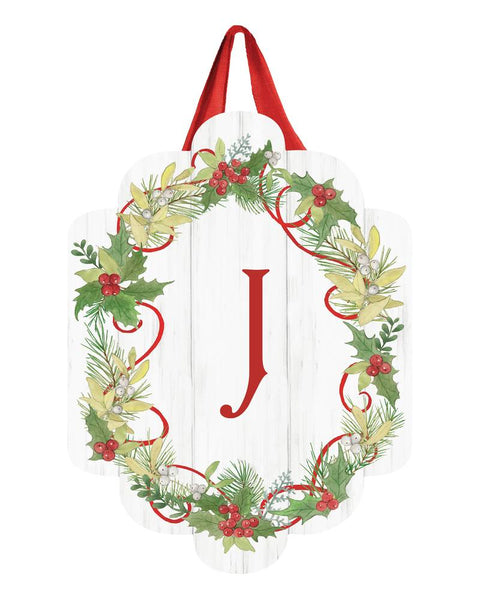 Winterberry Monogram J Door Décor