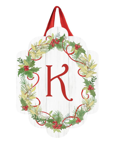 Winterberry Monogram K Door Décor