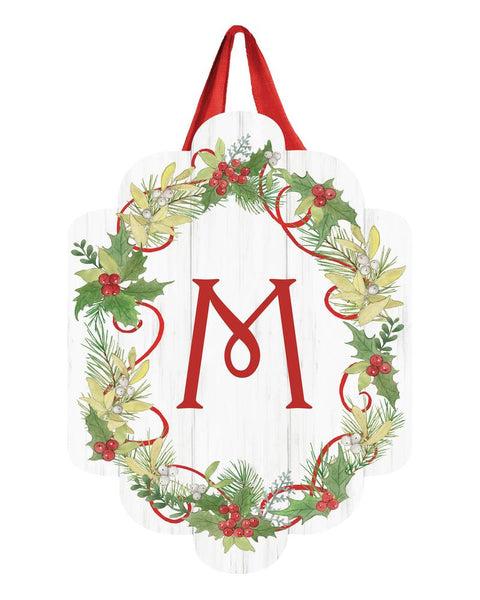 Winterberry Monogram M Door Décor